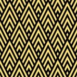 Sömlös svart och den guld- rhombic sparreart déco mönstrar vektorn Arkivbilder