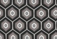 Sömlös svartvit bakgrund för abstrakt sexhörningstextur Fotografering för Bildbyråer