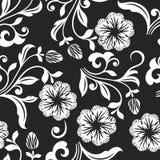 Sömlös svartvit blommabakgrund Arkivbilder