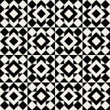 Sömlös svartvit fyrkantig geometrisk modell för vektor Arkivbild