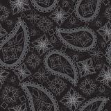 Sömlös svartvit geometrisk modell med paisley och blommor Jultomte i ett lock, i hörlurar med mikrofon, med en julklubba in till  Royaltyfri Foto