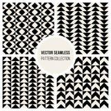 Sömlös svartvit geometrisk modellsamling för vektor Royaltyfri Bild