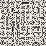 Sömlös svartvit linje Art Geometric Doodle Pattern för vektor Royaltyfria Bilder