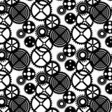 Sömlös svartvit modell för vektor med kugghjul Arkivfoto