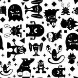 Sömlös svartvit modell med monster vektor illustrationer