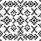 Sömlös svartvit navajomodell, vektorillustration