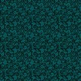 Sömlös swirly blom- bakgrund av mörka turkosvinterferier färgar royaltyfri illustrationer