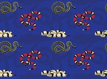 Sömlös tapet för ormKingsnake tecknad film Arkivfoton