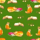 Sömlös tapet för vattenfärgkatter Illustration för tecknad filmdjurbarn Bakgrund för Emoji gräsplanmodell Fotografering för Bildbyråer