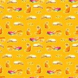 Sömlös tapet för vattenfärgkatter Illustration för tecknad filmdjurbarn Bakgrund för Emoji gulingmodell Arkivbilder