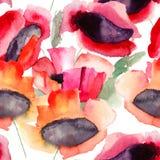Sömlös tapet med härliga röda blommor Arkivbild