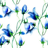 Sömlös tapet med Klocka blommor Arkivfoton
