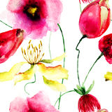 Sömlös tapet med lösa blommor Arkivbild