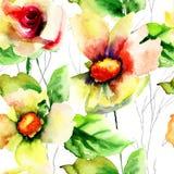 Sömlös tapet med lösa blommor Arkivfoto
