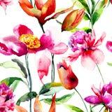 Sömlös tapet med lösa blommor Royaltyfria Foton