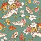 Sömlös tappning blommar och skor bakgrund vektor illustrationer