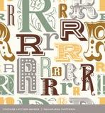 Sömlös tappningmodell av bokstaven r i retro färger Royaltyfri Fotografi