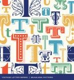 Sömlös tappningmodell av bokstaven t i retro färger Arkivbild