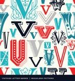 Sömlös tappningmodell av bokstaven V i retro färger Royaltyfri Bild