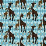 Sömlös tappningmodell med giraffet Royaltyfri Foto