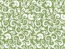 Sömlös tappningvit och grön blom- modell med abstrakta rosor stock illustrationer