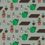 Sömlös tecknad film som arbeta i trädgården bakgrund Arkivfoton