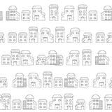 Sömlös tecknad filmmodell för vektor som göras av hus i europeisk stil vektor illustrationer