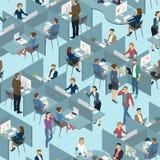 Sömlös tegelplatta av folk i kontorskontoret stock illustrationer