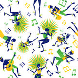 Sömlös tegelplatta för brasiliansk karneval royaltyfri illustrationer