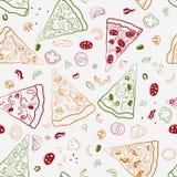 Sömlös textur av bildskivor av pizza Arkivfoton