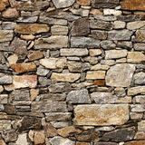 Sömlös textur av den medeltida väggen av stenkvarter Arkivfoto