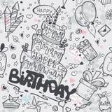 Sömlös textur av födelsedagen med en födelsedagkaka, ballonger, raket, tecknad filmtecken royaltyfri illustrationer