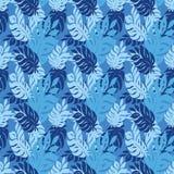 Sömlös textur för blått blad Royaltyfri Fotografi