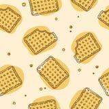 Sömlös textur för frasiga smällare i gula färger stock illustrationer