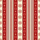 Sömlös textur för ljus jul Röda och gula snöflingor och stock illustrationer