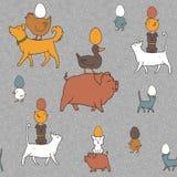 Sömlös textur för påsk med lantgårddjur och ägg Stock Illustrationer