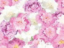 Sömlös textur för rosa pionmosaik Blommavektortextur royaltyfri illustrationer