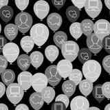 Sömlös textur för social uppsättning för massmedianätverkssymbol vektor illustrationer