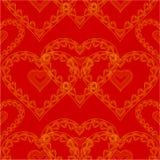 Sömlös textur för valentindag av den röda bakgrundsvektorn för guld- hjärtor Royaltyfria Bilder