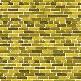 Sömlös textur för vektor av den guld- realistiska gamla tegelstenväggen med skuggor royaltyfri illustrationer