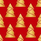 Sömlös textur för vektor, guld- julgranar med röda stjärnor, på röd bakgrund Royaltyfria Foton