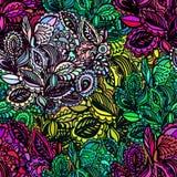 Sömlös textur för vektor med abstrakta blommor Arkivfoton