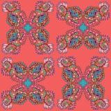 Sömlös textur för vektor med abstrakta blommor Sammansatt etnisk sömlös modell Arkivbilder