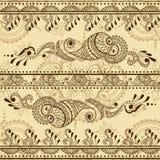 Sömlös textur för vektor med den blom- prydnaden i indisk stil Mehndi dekorativ randig modell Royaltyfria Foton