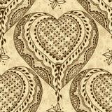 Sömlös textur för vektor med den blom- prydnaden i indisk stil Mehndi dekorativa hjärtor vektor illustrationer
