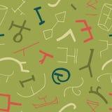 Sömlös textur för vektor med forntida beståndsdelar på grön bakgrund Arkivbild