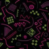 Sömlös textur för vektor med geometriska former Ändlös svart bakgrund Ljus modell Arkivfoto