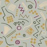 Sömlös textur för vektor med geometriska former Ändlös vit bakgrund Arkivfoto
