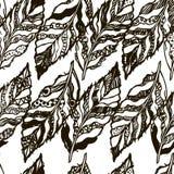 Sömlös textur för vektor med hand-drog fjädrar på den vita bakgrunden Royaltyfri Illustrationer