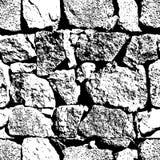 Sömlös textur för vektorgrunge Abstrakt svartvit bakgrund för stenvägg Arkivfoton